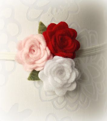 Valentine Felt Flower Headband Tutorial