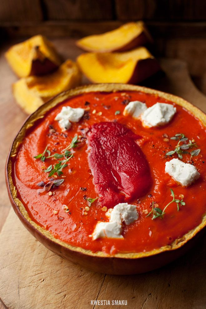 Pumpkin and Roasted Bell Pepper Soup with Feta and Thyme