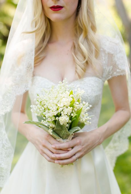 Brides: Lily of the Valley and Lamb's Ear Bouquet. A delicate lily of the valley and lamb's ear bouquet created by Burbank, California-based florist Flower Wild.