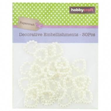 Hobbycraft Embellishments Pearlised Bead Hearts 30Pcs 12mm Ivory - Hobbycraft | Craft Shop, Art Supplies