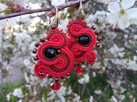 Earrings Raspberry  handmade in soutage