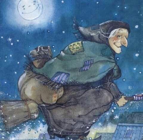 "Cover art detail from the book ""La vera storia della Befana"". Illustration by Marta Tonin."