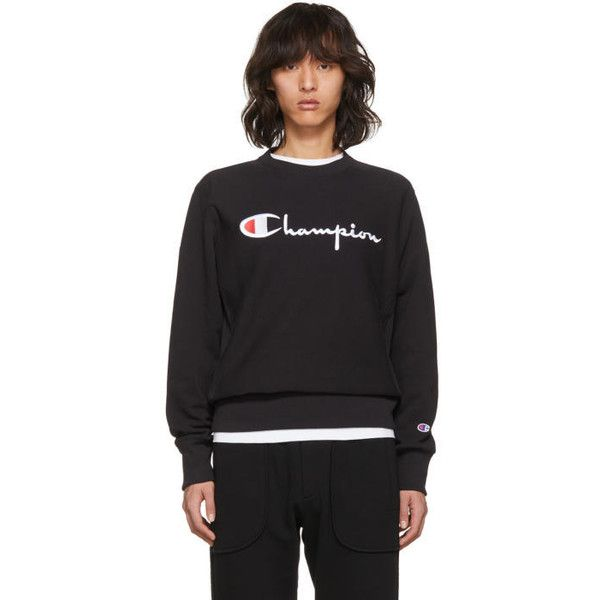 cc5f735db87a Champion Reverse Weave Black Small Logo Warm-Up Sweatshirt ( 120) ❤ liked  on Polyvore featuring men s fashion