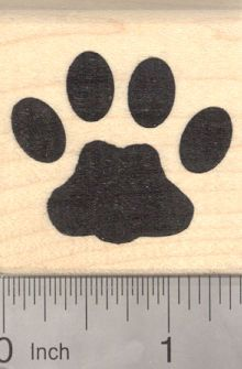 Large Cat Paw Print Rubber Stamp D19609 - Wood Mounted