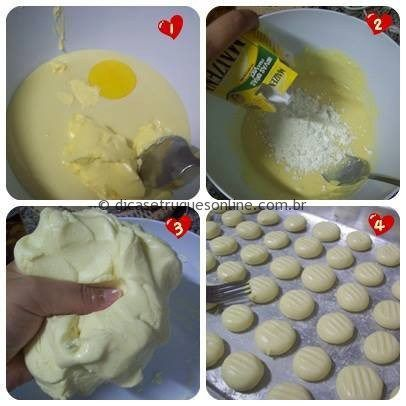 Para minha total surpresa, os tais biscoitinhos são superrrrr fáceis de fazer! Muito simples e rápido também!    Eu precisei de:  1 gema de ovo 1/2 lata de leite condensado 80g de