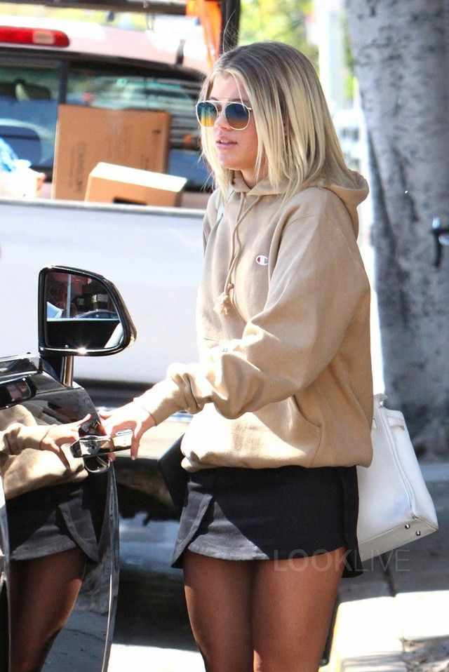 Sofia Richie wearing  Champion Reverse Weave Hoodie Sweatshirt, Are you am i…