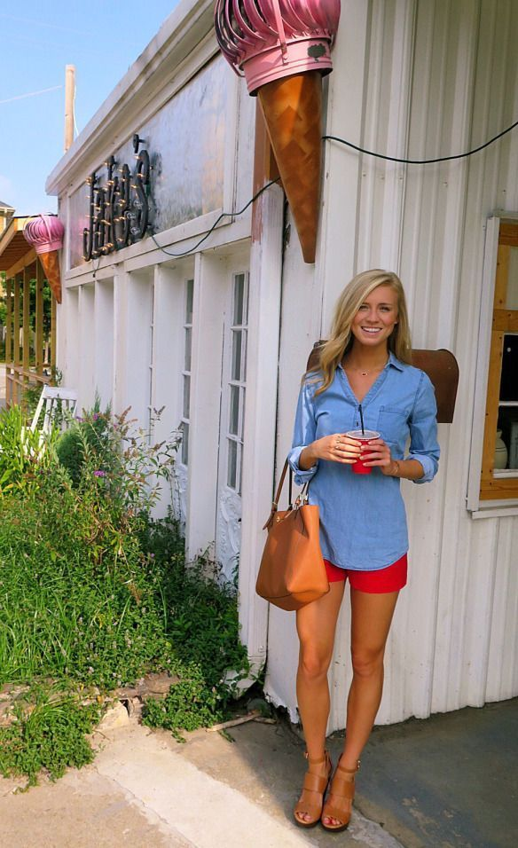 "( ""Super cute look for the 4th of July! Love the chambray top with the red shorts!"" )"