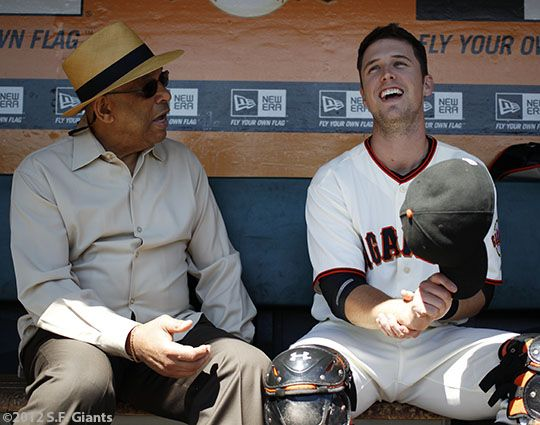 Orlando Cepeda and Buster Posey - The 2012 Giants celebrated their Hispanic heritage today with Fiesta Gigantes