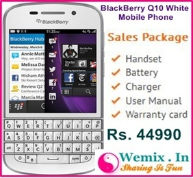 BlackBerry Q10 White Mobile Phone BlackBerry Q10 White Mobile Phone Rs. 44990