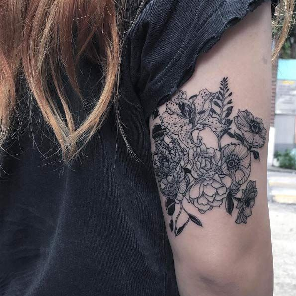 Blackwork back arm floral bouquet by Oozy