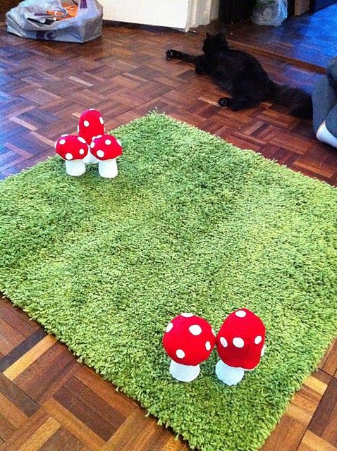 woodland rug. I like the idea of using a green rug for grass... why have I never thought of that? This would be perfect for a garden themed area