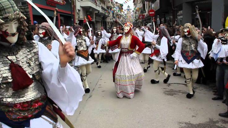 Γενίτσαροι και Μπούλες traditional custom during the period of Apokria in Naousa, Imathia, Macedonia, Greece