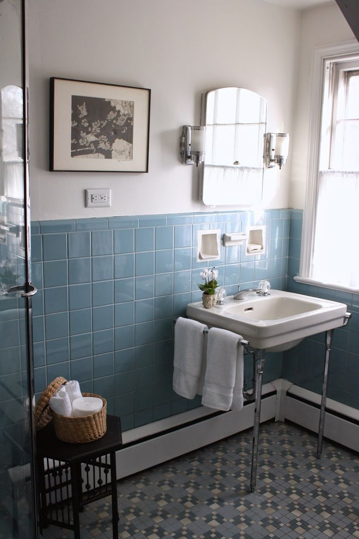 Best 25 blue bathroom tiles ideas on pinterest blue tiles pre holiday spruce up the vintage blue tile bathroom dailygadgetfo Image collections