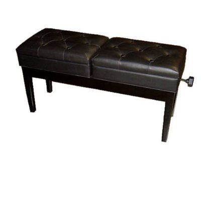 Double Piano Bench, Adjustable (Polished Black) | Piano Benches for Sale $199