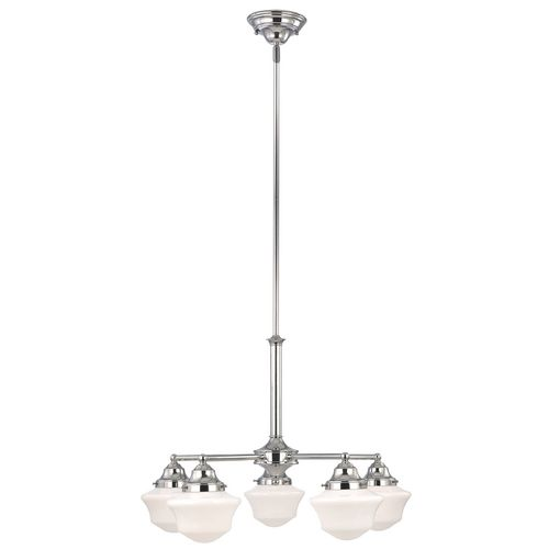 Schoolhouse Chandelier in Chrome Finish with Five Lights at Destination Lighting