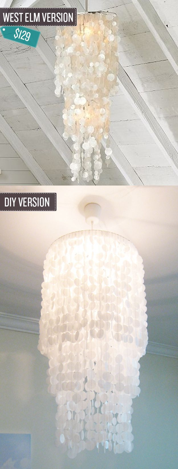"Build a shell pendant chandelier. | 24 West Elm Hacks  ""You'd never guess that something so glam was mostly made from wax paper and an old lamp shade."""
