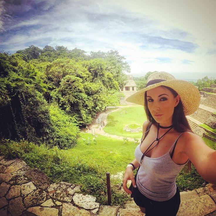 Climbing ruins in Palenque, Mexico