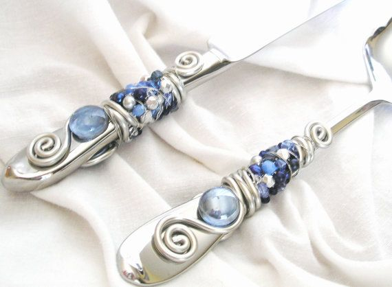 BEADED Wedding Cake knife and server Serving Set - Silvery Blues - Silver and Blue SWAROVSKI Crystal, Glass and Pearl beads