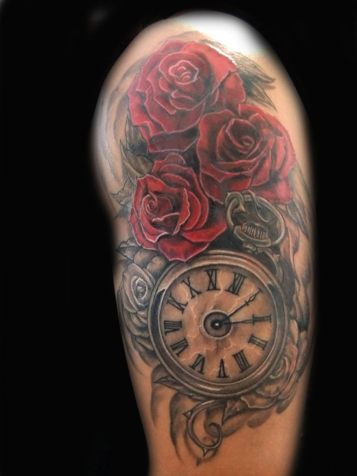 clock-and-roses-tattoo........I want the roses up higher on my shoulder.  No clock wind up on top. Wings on clock
