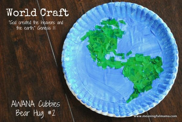 World Craft – Awana Cubbies Bear Hug #2 Craft Also a great craft for earth day. Meaningfulmama.com