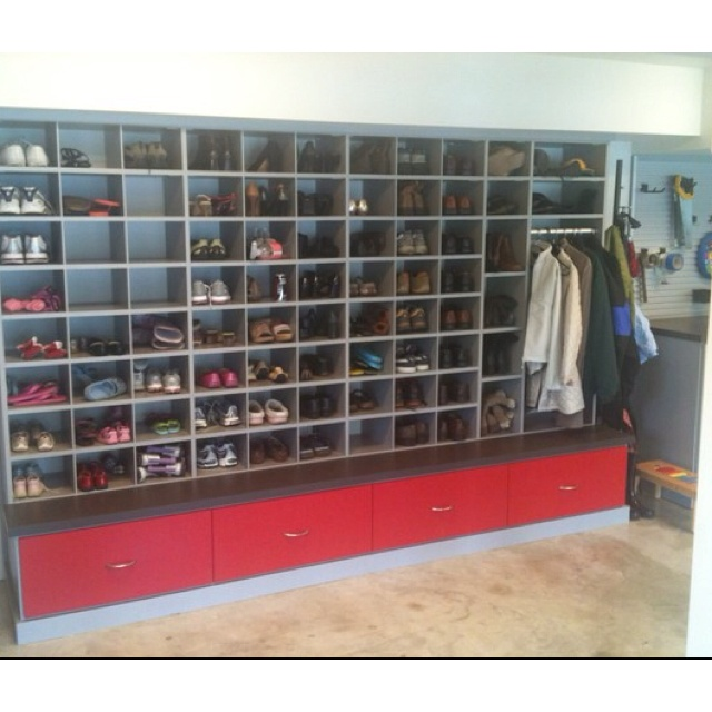 garage shoe storage - love!  who wants dirty shoes inside their home?!