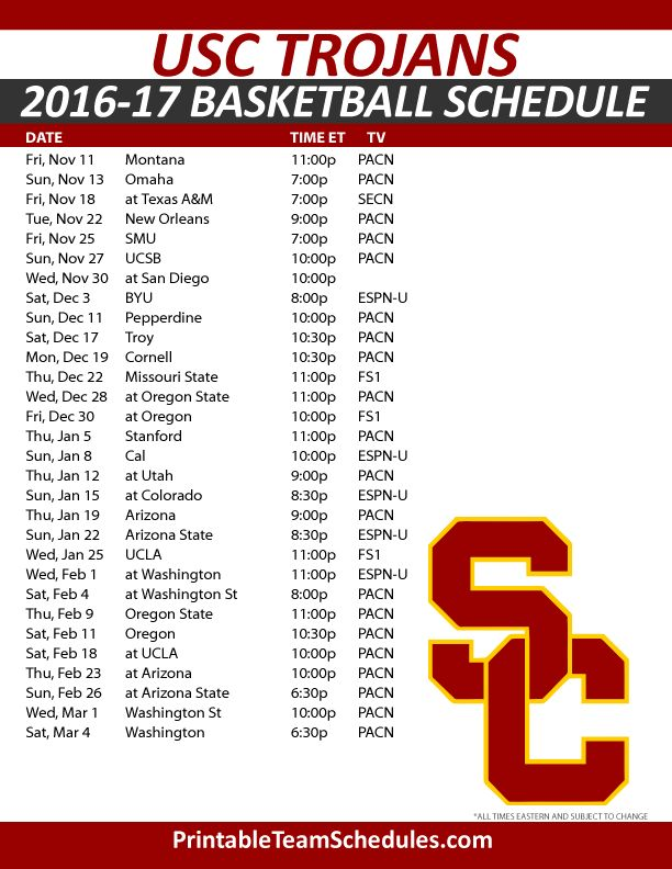 USC Trojans Basketball Schedule 2016-17.  Print Here - http://printableteamschedules.com/NCAA/usctrojansbasketball.php
