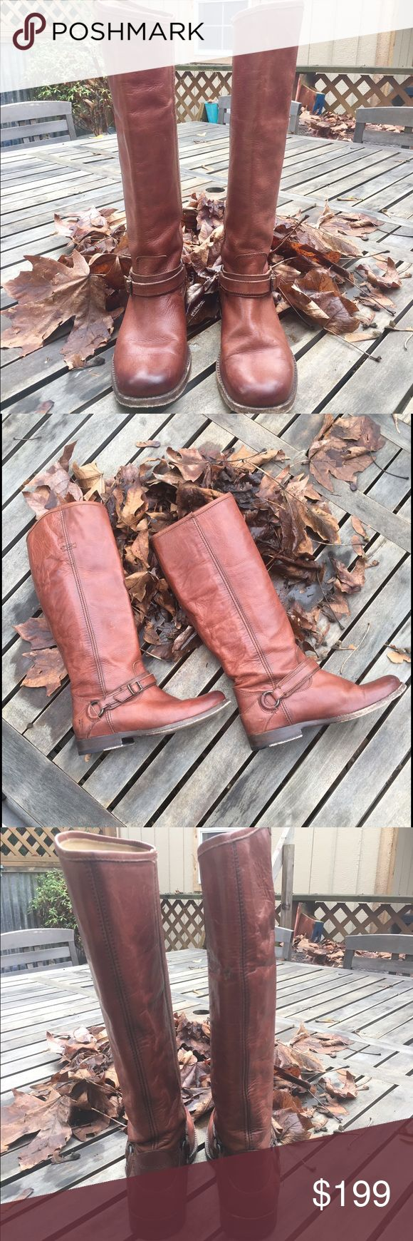 """🆕Frye riding boots Frye boots, founded in 1863 are made from the finest quality leather!  They are made to enjoy them well and hold up so well over time.  These beauties, I believe are from the Shirley collection. The shaft is 15"""" and heels are 1"""".  In EUC - no rips, holes or tears...they are soft and broken in for immediate wear!  0511116 Frye Shoes Heeled Boots"""