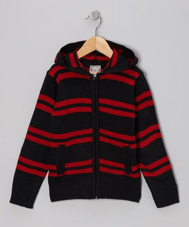 Take a look at this Black & Red Stripe Zip-Up Hoodie - Toddler & Boys by Urban Extreme on #zulily today!