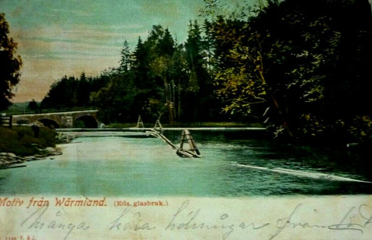 Värmland Eda kommun Charlottenberg vy vid Eda Glasbruk tidig 1900-tal utg Vilén & Johanson, Borås