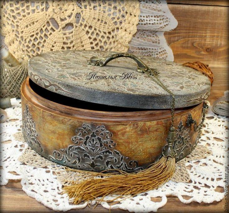 """Купить Большой короб """"La lingere"""" - серебряный, шкатулка ручной работы, деревянный, шкатулка для рукоделия"""
