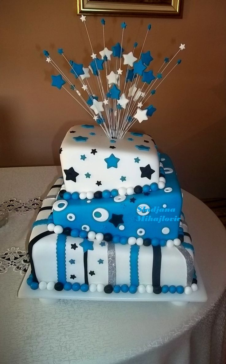 Square Topsy Turvy Cake Blue And White Cake Stars Blue