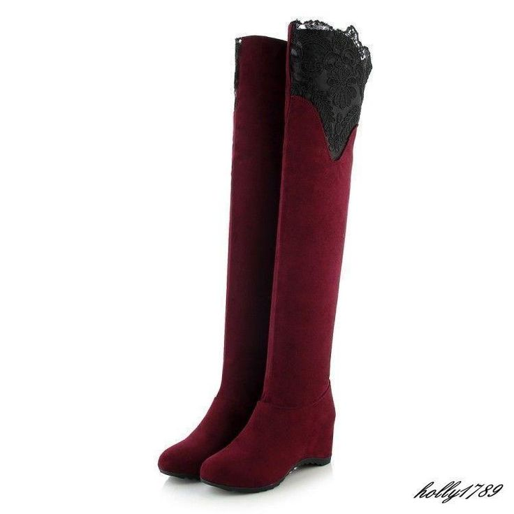 Womens Ladies Black Or Red Knee High Boots Lace Boots Shoes Us Size 4.5-8