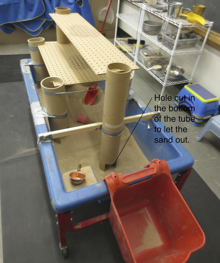 By having 2 layers of pegboards over a sand table it allows children to explore the movement of sand through the holes in the pegboard. I also like the idea of having different levels for children to play with.