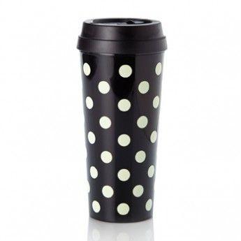 Kate Spade Black Dots Travel Mug