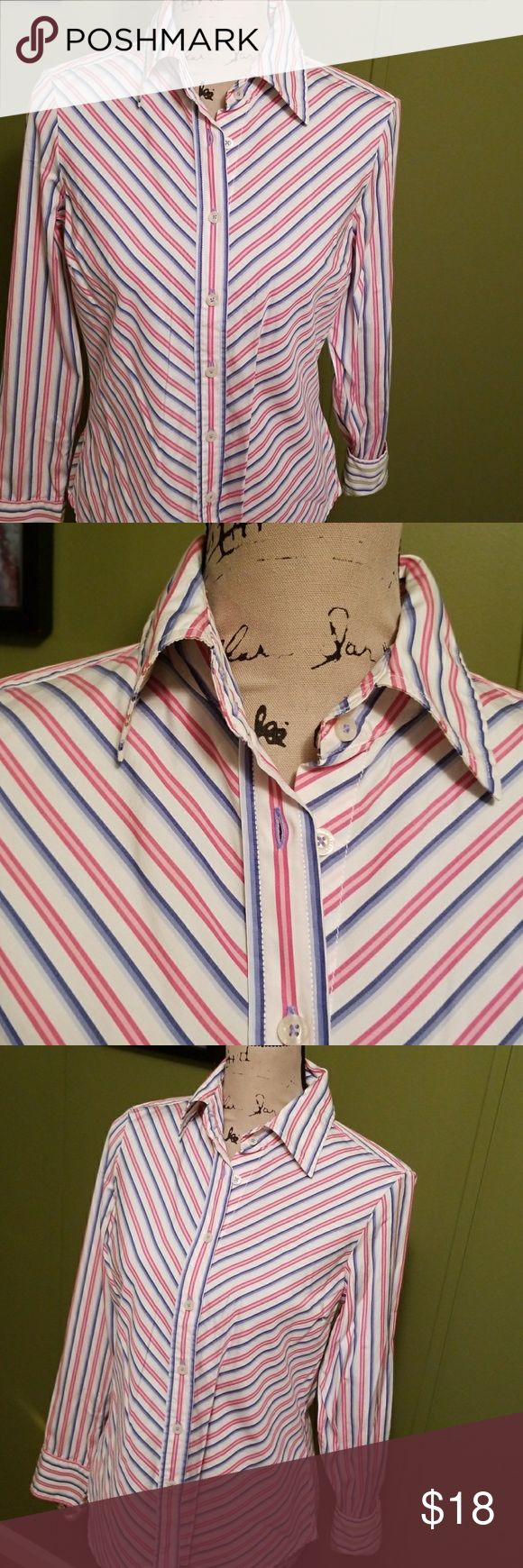 Tommy Hilfiger Button Down Collar Top Stripes of Pink, blue and white long sleeve top. All buttons are functional along with extra buttons (see last picture). Great condition. Tommy Hilfiger Tops Button Down Shirts