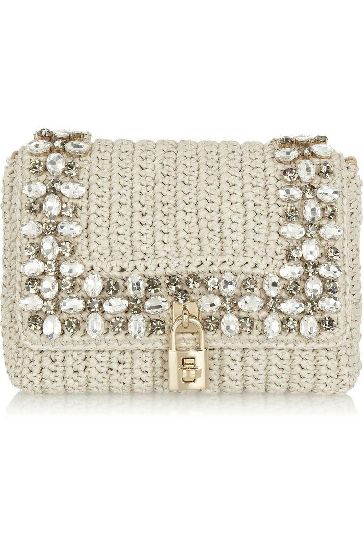 Dolce & Gabbana | Sac porté épaule en raphia orné de cristaux