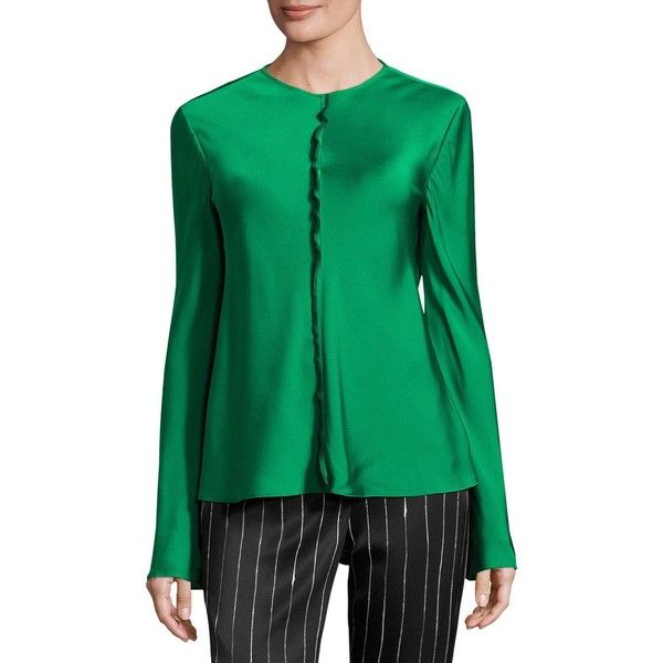 Dkny Long-Sleeve Stretch Satin Top ($258) ❤ liked on Polyvore featuring tops, virdian, half zip pullover, long sleeve tops, green long sleeve top, green top and relaxed fit tops