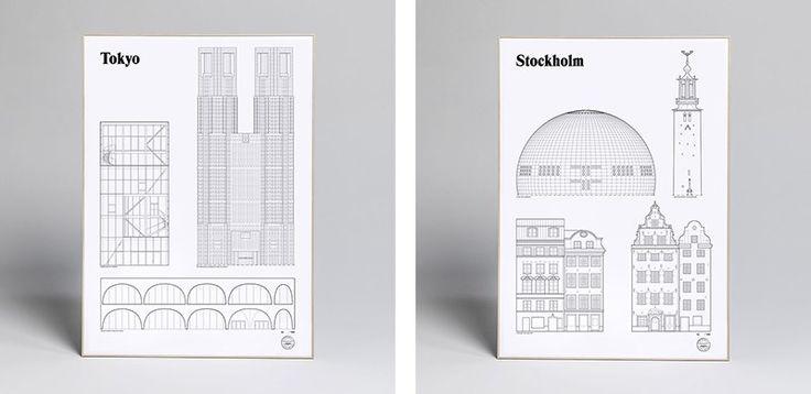 Famous city landmarks rendered in minimal line work by Studio Esinam