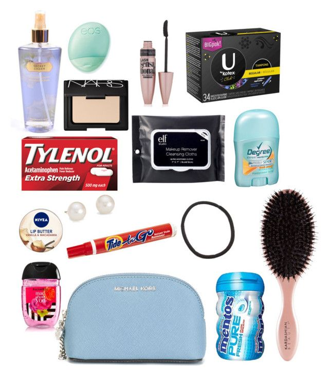 """Middle school survival kit."" by adleighrouse on Polyvore featuring beauty, Victoria's Secret, Eos, Maybelline, NARS Cosmetics, e.l.f., MICHAEL Michael Kors, Nivea and Blue Nile"