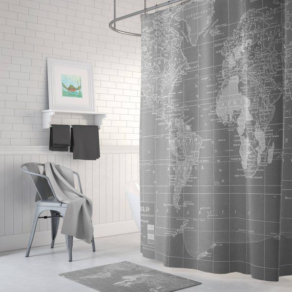 Gray World Map Shower Curtain Gray And White Wanderlust