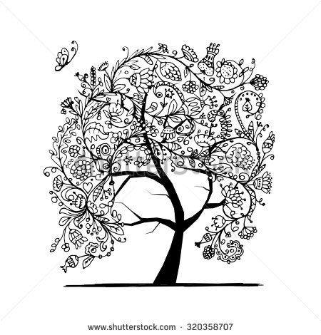 Floral tree, black silhouette for your design. Vector illustration