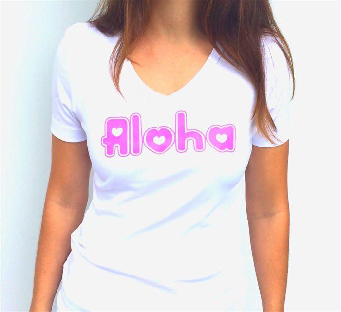 Madeit Heartfelt Fundraiser Pink Neon Aloha Women's Tee sizes 8-14