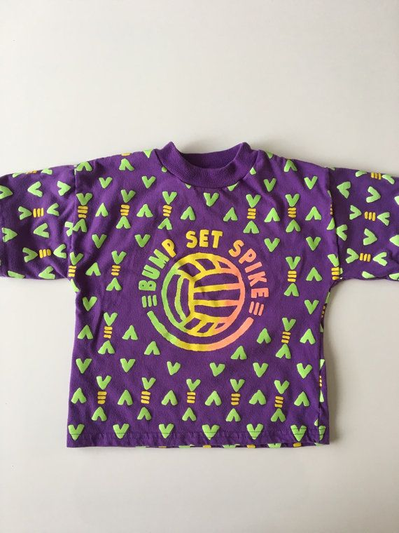 SOLD Vintage Volleyball Tee Purple with Neon Green Puffy Paint by Peanuts Brand for sale here https://www.etsy.com/listing/267127237/vintage-purple-volleyball-tee-by-peanuts?ref=shop_home_active_2