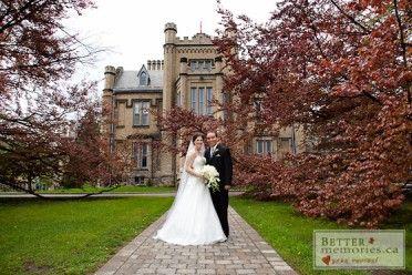 Bride and Groom in Front of Trafalgar Castle