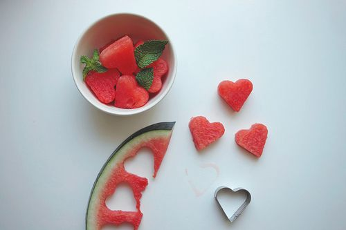 watermelon + cookie cutters into the salad???Fruit Salad, Heart, Valentine Day, Parties, Food, Cute Ideas, Cookies Cutters, Watermelon, Cut Out