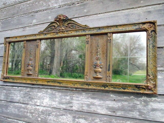 Antique Triple Panel Carved Wood Gesso Mantel Wall Mirror