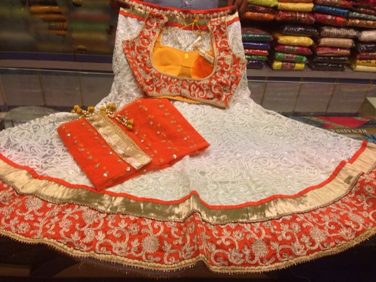 White and orange chaniya choli
