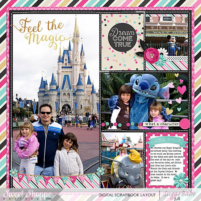 Feel The Magic - Magic Kingdom Disney Digital Layout by Juli Fish.   Credits - #believeinthemagic  Miss Mouse by Amber Shaw & Studio Flergs  365Unscripted Sttitched Grids 7 by Traci Reed available at Sweet Shoppe Designs.com Family, Disney, Magic Kingdom, Dumbo, Stitch, Characters, Mickey, Pocket Scrapbook, Project Life, Journal Cards, stripes, flowers. word art, multiple photos