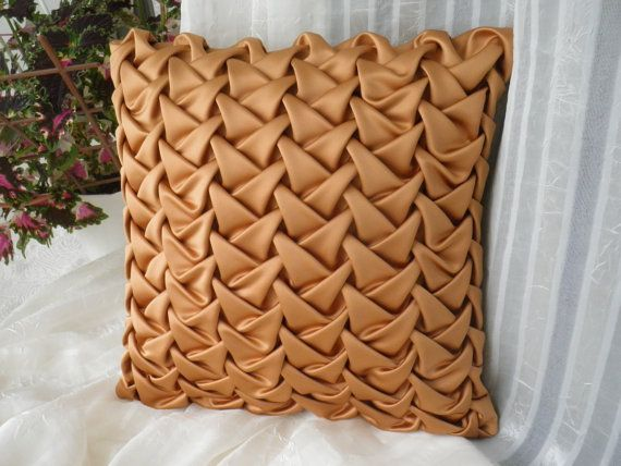 Decorative Smocked Cushion Brown Pillow Cover,Silk Throw Pillow,Brown Cashion,Smocked Pillow Sofa 16x16 inch(40x40 cm),Gold Pillow Cover