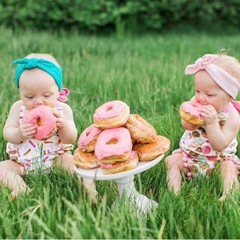 Donut party - donut outfit - donut first birthday - cake smash - cute twins - little m creations inc